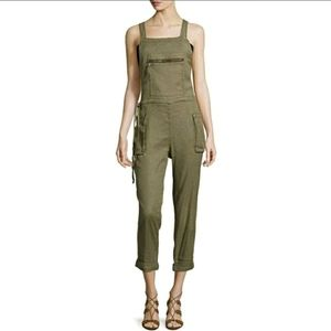 Free People First City Linen Overalls ~ Army Green